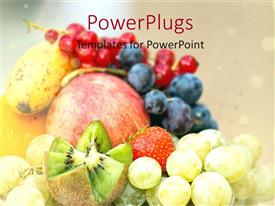 PowerPlugs: PowerPoint template with assortment of fresh fruits, apple, kiwi, red grapes, blue grapes, green grapes, strawberry