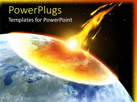 PowerPlugs: PowerPoint template with asteroid collision with earth, flames, night sky