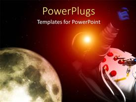 PowerPlugs: PowerPoint template with an astronaut with a moon in the background