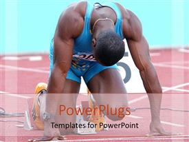 PowerPlugs: PowerPoint template with athlete in position on track ready to start race