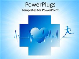 PowerPlugs: PowerPoint template with an athlete running along with his heartbeat and figure of heart in the middle