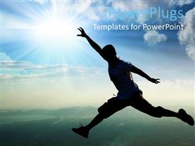 PowerPoint template displaying an athlete running along with sun in the background