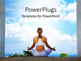 PowerPoint template displaying an athletic fitness lady practicing yoga in between two pillars