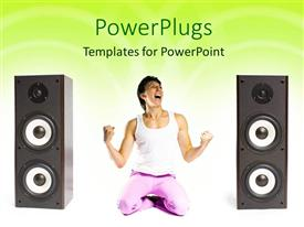 PowerPlugs: PowerPoint template with an athletic lady kneeling and shouting in between two speakers