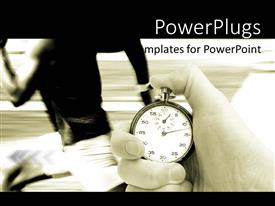 PowerPoint template displaying athletic race with runner in background and official with stopwatch