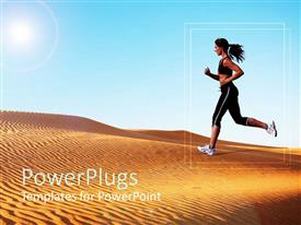 PowerPoint template displaying athletic woman running on sand dunes with light blue sky background