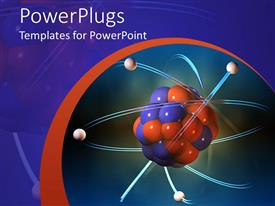 PowerPoint template displaying atom electrons science blue and orange background