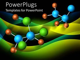 PowerPlugs: PowerPoint template with atomic bonding in colorful yellow-blue background