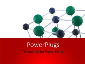 PowerPoint template displaying atomic structure on display over white background