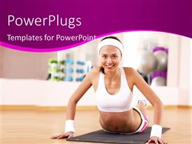 PowerPlugs: PowerPoint template with attractive young lady exercising on gym mat in gym