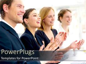 PowerPoint template displaying audience clapping after presentation happy employers group project success