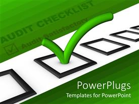 PowerPlugs: PowerPoint template with audit checklist with green tick in bright green background