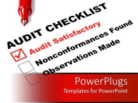 PowerPlugs: PowerPoint template with audit checklist ticked on audit satisfactory