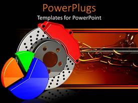 PowerPlugs: PowerPoint template with an automobile brake caliper with reddish background and place for text