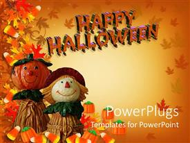 PowerPoint template displaying autumn background with happy Halloween sign and two dolls