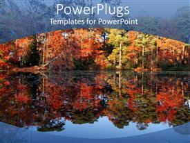 PowerPlugs: PowerPoint template with autumn depiction with trees reflecting in the lake water