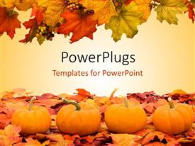 PowerPlugs: PowerPoint template with autumn fall colored leaves with pumpkins depicting Halloween scene