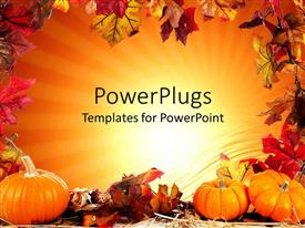 PowerPlugs: PowerPoint template with autumn fall leaf border with orange background and three pumpkins