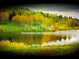 PowerPlugs: PowerPoint template with autumn forest orange and green lake reflections memories travel relax nature