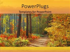 PowerPlugs: PowerPoint template with autumn in forest with orange yellow and red leaves trail
