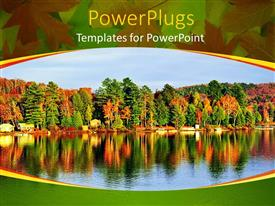 PowerPlugs: PowerPoint template with autumn landscape with colorful forest beside a calm lake