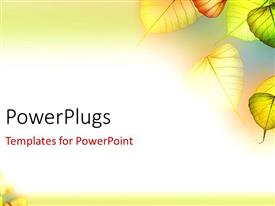 PowerPlugs: PowerPoint template with beautiful depiction of colorful autumn leaves in white background