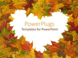 PowerPoint template displaying autumn maple leaves arranged to form love symbol