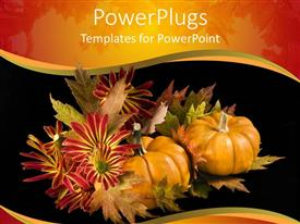 PowerPlugs: PowerPoint template with autumn season with two pumpkins on a black background