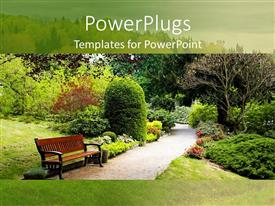 PowerPlugs: PowerPoint template with an autumn walk in the green park with a bench on a green background