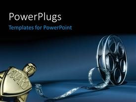 PowerPlugs: PowerPoint template with award with 3D cinema film reel