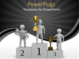 PowerPlugs: PowerPoint template with award presentation of gold, silver and bronze trophy on stage