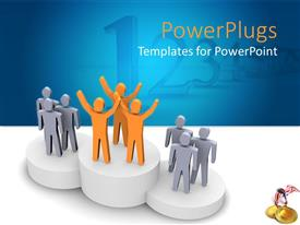 PowerPlugs: PowerPoint template with award presentation on podium with winning teams hand raised in celebration