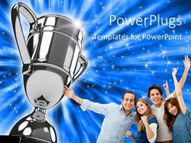 PowerPlugs: PowerPoint template with award winning group points to silver trophy on sparkling blue background