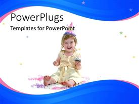 PowerPlugs: PowerPoint template with baby birthday grl eating cupcake and wearing hat white and blue background