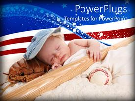 PowerPlugs: PowerPoint template with baby boy asleep with baseball bat, catcher's mitt and baseball