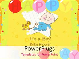 PowerPlugs: PowerPoint template with baby Boy Shower and Arrival Card with image of a happy baby boy