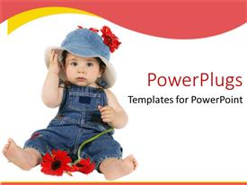 PowerPlugs: PowerPoint template with baby dressed in denim plays with flower on white background
