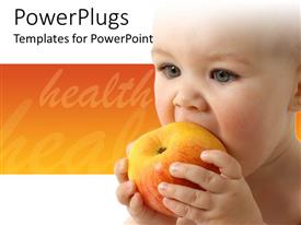PowerPoint template displaying baby eating fruit, healthy nutrition, orange and white background