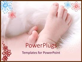 PowerPoint template displaying baby feet on white flurry blanket on a petal background