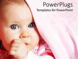 PowerPlugs: PowerPoint template with baby girl with bright blue eyes and pink blanket sucking her thumb