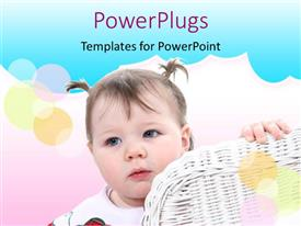PowerPoint template displaying baby girl in pigtails standing next to white wicker chair