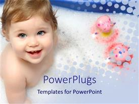 PowerPoint template displaying baby girl smiling in bathtub with two pink toys