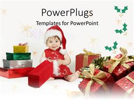 PowerPlugs: PowerPoint template with baby girl wearing red and white dress and cap