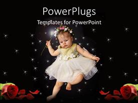 PowerPlugs: PowerPoint template with baby girl in white fair dress with flowered head band on starry black background and roses