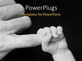 PowerPlugs: PowerPoint template with a baby holding the hand of the father