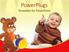 PowerPoint template displaying baby holding spoon with bowl, teddy bear with ball, nutrition, kids