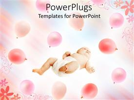PowerPoint template displaying baby laying on his back surrounded by pink balloons and floral pattern over bright background