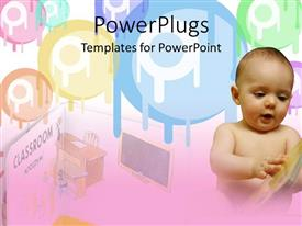 PowerPoint template displaying baby looks at book with pastel colors