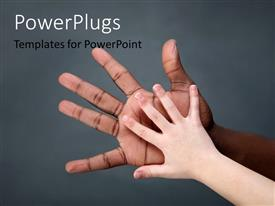 PowerPlugs: PowerPoint template with a baby and a man's hand with grayish background and place for text