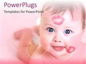 PowerPoint template displaying baby with red lip prints on cheek and head